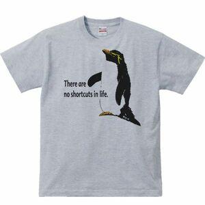 イワトビ ペンギン(人生に近道はない)/半袖Tシャツ/メンズM/杢グレー(やや濃いめ)・新品・メール便 送料無料