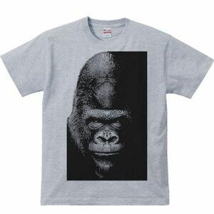 暗闇のゴリラ/半袖Tシャツ/メンズL/杢グレー(やや濃いめ)・新品・メール便 送料無料