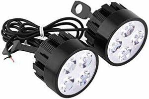 Aタイプ LEDバイク補助灯 フォグランプステー 配線付き ミラー ブラケット ヘッドライト 16W 3000Lm 6000K