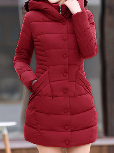 レディース 中綿コート 中綿ジャケット ダウンジャケット 防寒 軽量 冬 帽子付き フッド付き レッド色 Lサイズ