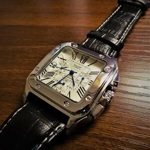 1円スタート〓新品〓自動巻機械式腕時計 ウォッチ メンズ 24時間表示、カレンダー付きシルバーケースホワイト文字盤モデル国内発送