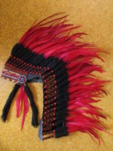 インディアン 羽根飾り ヘッドドレス ウォーボンネット ハロウィン コスプレ 仮装 部族 西部劇 民族 衣装 被り物 帽子 EDM フェス サイケ