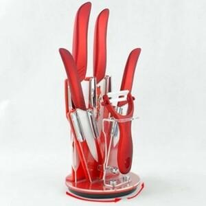セラミック 包丁 4本セット + ピーラー付き ナイフ 赤 柄 ジルコニア スタンド