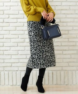 le.coeur blanc レオパード タイトスカート 36 グレー ブラック モノトーン スカート 美品 秋冬素材