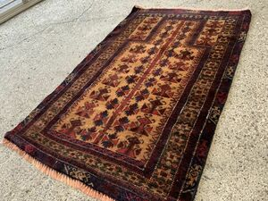 132×82cm アフガニスタン・ヘラート・アドラスカン産 絨毯 ラグ アンティーク家具 マジック カーペット 01ZZBRM210831016C