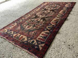 186×104cm アフガニスタン・ヘラート・アドラスカン産 絨毯 ラグ アンティーク家具 マジック カーペット 01AMBRL210907011D