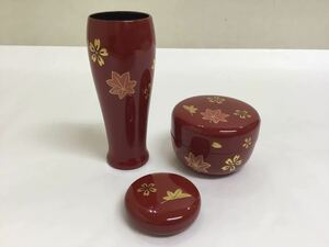 茶道具 古物 茶箱用三点セット 木製 朱 春秋