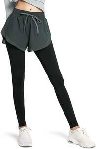 ヨガパンツ ショートパンツ 一体型 レギンスレディース 9分丈 タイツ 吸汗速乾 ハイウエスト 美脚 ヨガウェア スパッツ ポケット付き