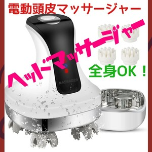 電動頭皮ブラシ IPX7防水 乾湿両用 USB充電台座 4D技術 男女兼用 ヘッドマッサージャー 全身 ヘッドスパ