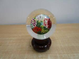 J012★中国芸術品 内画水晶球の置物 台座付き 直径約11cm★中古美品