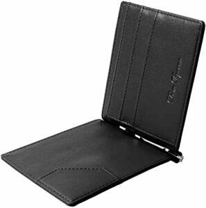 ブラック Dom Teporna マネークリップ 牛革 薄い 二つ折り財布 小銭入れなし カードケース メンズ 全3色