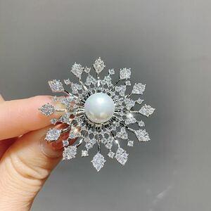 小さなジルコン真珠花ブローチラインストーンサージュお洒落胸飾り入学式卒業式結婚式DIAMOND ラインストーン