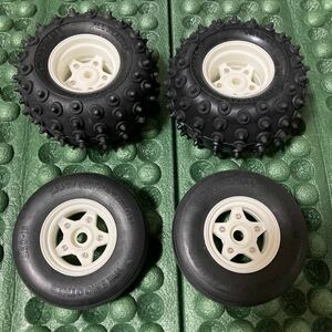 タミヤ ホーネット マイティフロッグ系 タイヤホイールセット XB外し未使用品 ファイティングバギー グラスホッパー