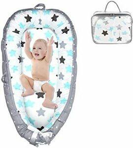 ■セール中■ 星柄 skyblue ベビーベッド 折りたたみ 綿100% ベッドインベッド ベビーネスト 添い寝ベッド 新生児 携帯型ベビー