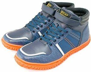 ■セール中■ ネイビー 26.5 cm [MOCAP] 安全靴 スニーカー セーフティーシューズ メンズ 鉄芯 ベルクロ ハイカット CPM