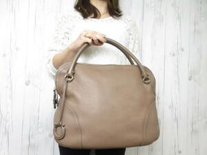 極美品 Ferragamo フェラガモ ガンチーニ ハンドバッグ ショルダーバッグ バッグ 茶系 A4収納可 42414