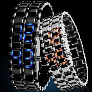 防水 スポーツ腕時計 合金リストストラップ時計 電子第二世代バイナリ デジタルメンズ腕時計 LED