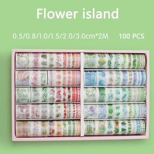 いろいろに使えて便利●マスキングテープセット 100個 ランダム かわいい ファンシー 粘着テープ 文房具 ラッピング 工作 養生 保護 bb557