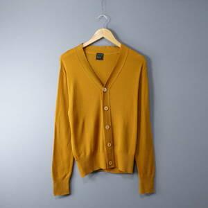 美品 LETROYES/ ルトロワ /L/フランス製/ウール100%カーディガン/マスタード イエロー 黄色