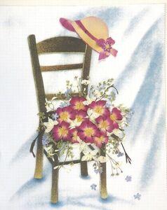 ●押し花●素材 26額用 椅子と帽子 プリント台紙付き