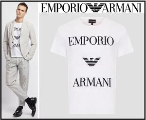 3万新品訳有◆S◆EMPORIOアルマーニ 白ロゴエンブロイダリーコットンTシャツ1円