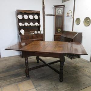 イギリス アンティーク 家具 ダイニングテーブル ドローリーフテーブル 拡張天板 木製 オーク 英国 TABLE 6144c