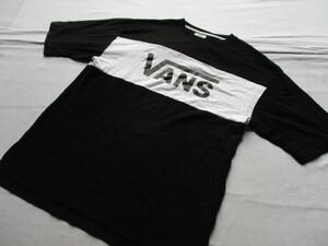 VANS/ヴァンズ/半袖Tシャツ/ビッグシルエットT/前後胸辺り白切替/ロゴプリント/モノトーン/裾サイドスリット/黒/ブラック/Mサイズ(9/1)