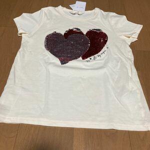アニエスベー ハートスパンコール可愛いTシャツサイズ38新品未使用