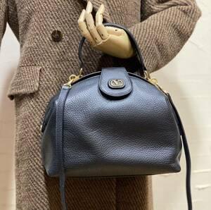美品 希少デザイン VALENTINO GARAVANI 2WAY ショルダーバッグ ハンドバッグ がま口 型押しレザー ヴィンテージバッグ 斜め掛け