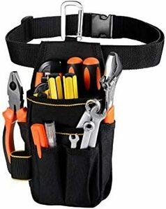 □セール□ブラック [VOW&ZON] 工具入れ 腰袋 工具袋 小物入れ 作業袋 ウエストバッグ カラビナフック ベルト付 多機能
