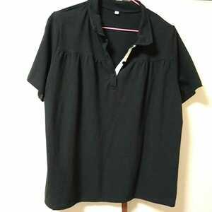 ポロシャツ★2L~3L★大きなサイズ レース付き ガーリー 山ガール 黒