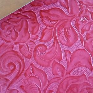 革ハギレ 薔薇型押し ローズレッド レザークラフト