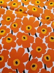 マリメッコ ミニウニッコ 生地 撥水 ハンドメイド オレンジ 花柄 ポーチ レア 未入荷 貴重 防水 PVC