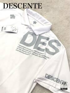 デサント DESCENTE ゴルフ サイズO ポロシャツ ホワイト 新品未使用 タグ付き 吸汗速乾 左胸ビッグロゴ golf