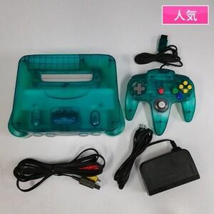 gP303b [動作品] N64 本体 クリアブルー コントローラ ACアダプター AVケーブル   ゲーム X