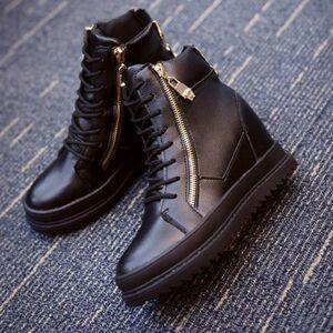 ハイカット 厚底 レザー スニーカー ゴールド ジップ インヒール 黒 ブラッ ク 40 25.0cm 厚底靴 ショートブーツ ブーツ 美脚 ヒール10cm