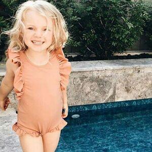 Children's baby frill dress swimsuit kids swimsuit kids sleeve frill baby swimsuit orange 90