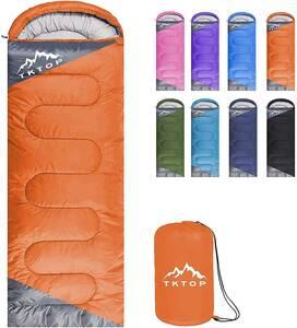 寝袋 封筒型 軽量 保温 210T防水シュラフ 収納パック付き 1kg オレンジ