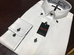 Stingroad 形態安定 白織柄ヘリンボーン★ボタンダウンワイシャツ L(41-84) 激安です