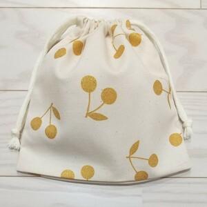 巾着袋 コップ袋 給食袋 さくらんぼ ゴールド