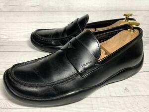 【即決】PRADA プラダ メンズ 24.5cm程度 コインローファー 5.5 860 革靴 本革 本皮 スリッポン くつ 黒 ブラック