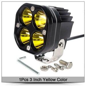 """新品 LED 作業灯 12V 24V フォグランプ 4×4 オフロード スクエア スポット 3"""" 黄 1個 ライト"""