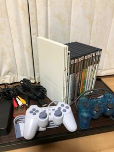 最終値引き!PlayStation2 SCPH-75000コントローラー2個ソフト10本すぐ遊べるセット