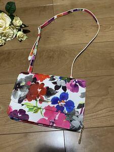 新品☆華やか可愛い♪水彩花柄お財布ポシェットクラッチバッグ2wayミニバッグショルダーバッグお財布ポーチハンドバッグウォレットポーチ