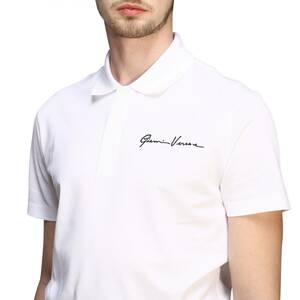 新品 ■ VERSACE ロゴ 刺繍 鹿の子 ポロシャツ トップス ヴェルサーチ A85108 A231240 ■ S