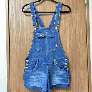 デニムサロペットジーンズ ショートパンツオーバーオールショート丈Lサイズポケット多数ありジーンズ ショートパンツ 短パン
