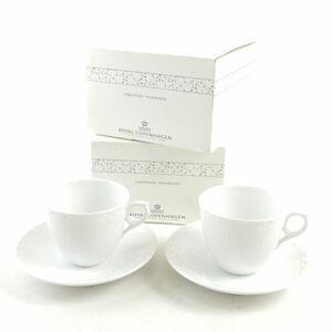 【未使用 美品】ロイヤルコペンハーゲン ホワイトフルーテッドハーフレース コーヒーカップ&ソーサー 2客 ペア 白 SC2911F