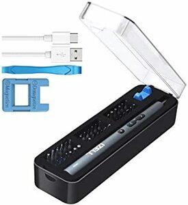 IZELL 電動ドライバー 小型 USB充電式 36本磁気ビット電動ドリルドライバー LEDライト 正逆転可能 軽量54g 収