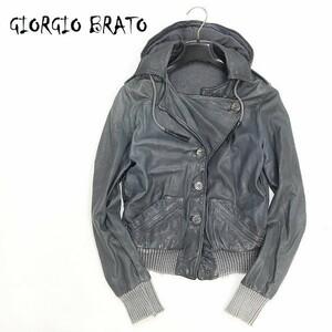 ◆GIORGIO BRATO/ジョルジオ ブラット フード付 羊革 ラムレザー ブルゾン ジャケット チャコールグレー系 38