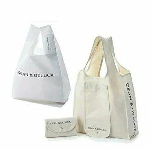 新品 送料無料 DEAN & DELUCA ディーン & デルーカ ミニマムエコバッグホワイト & ショッピングバッグ セット エコバッグ レジ袋 マチ付き